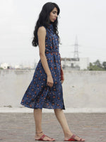 Indigo Brown Ivory Hand Block Printed Cotton Sleeveless Dress With Front Slit And Tie Up Waist - D89F883