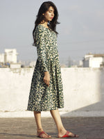 Pine Green Indigo Ivory Hand Block Printed Cotton Midi Dress With Knife Pleats - D101F605