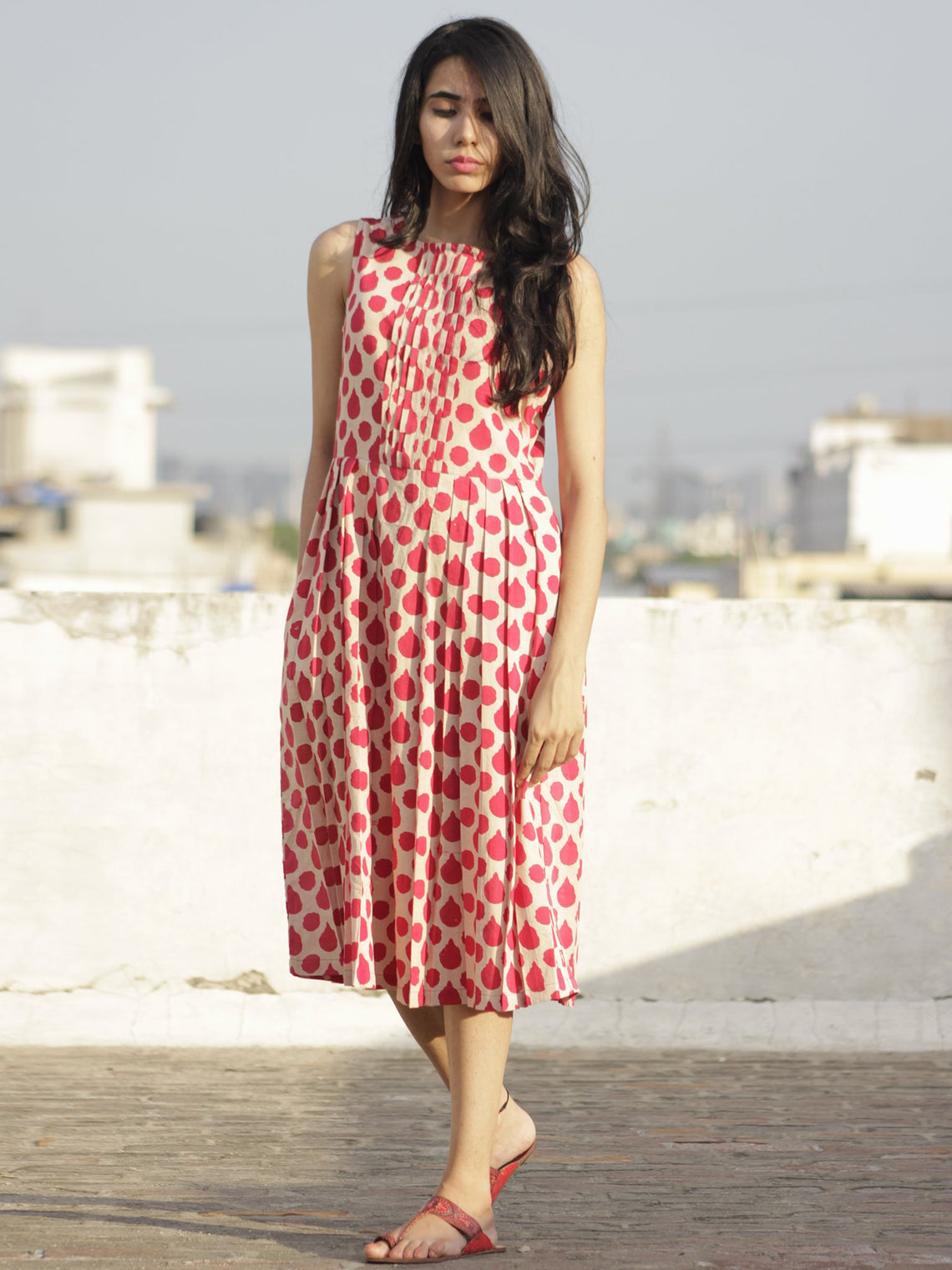 Red Ivory Hand Block Printed Cotton Dress With Knife Pleats - D103F484