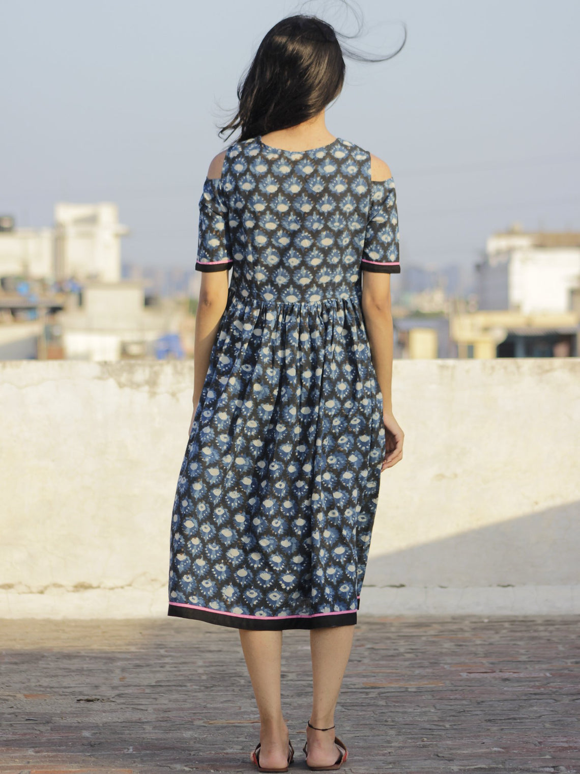 Indigo Black Ivory Pink Hand Block Printed Dress With Cold Shoulders And Tassels - D69F908