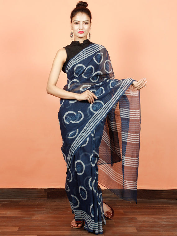 Indigo White Blue Hand Block Printed Kota Doria Saree in Natural Colors - S031703563