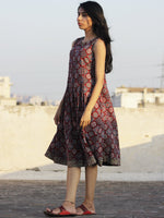 Maroon Indigo Light Green Black Ivory Ajrak Block Printed Cotton Dress With Knife Pleats - D104F677