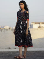 Black Indigo Rust Ivory Hand Block Printed Cotton Angrakha Dress  - D69F895