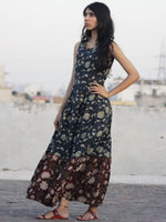 Indigo Maroon Brown Ivory Black Hand Block Mughal Printed Sleeveless Tier Cotton Dress With Box Pleats & Side Pockets - D67F621