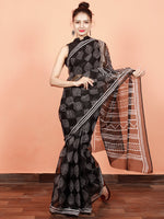 Black White Hand Block Printed Kota Doria Saree in Natural Colors - S031703569