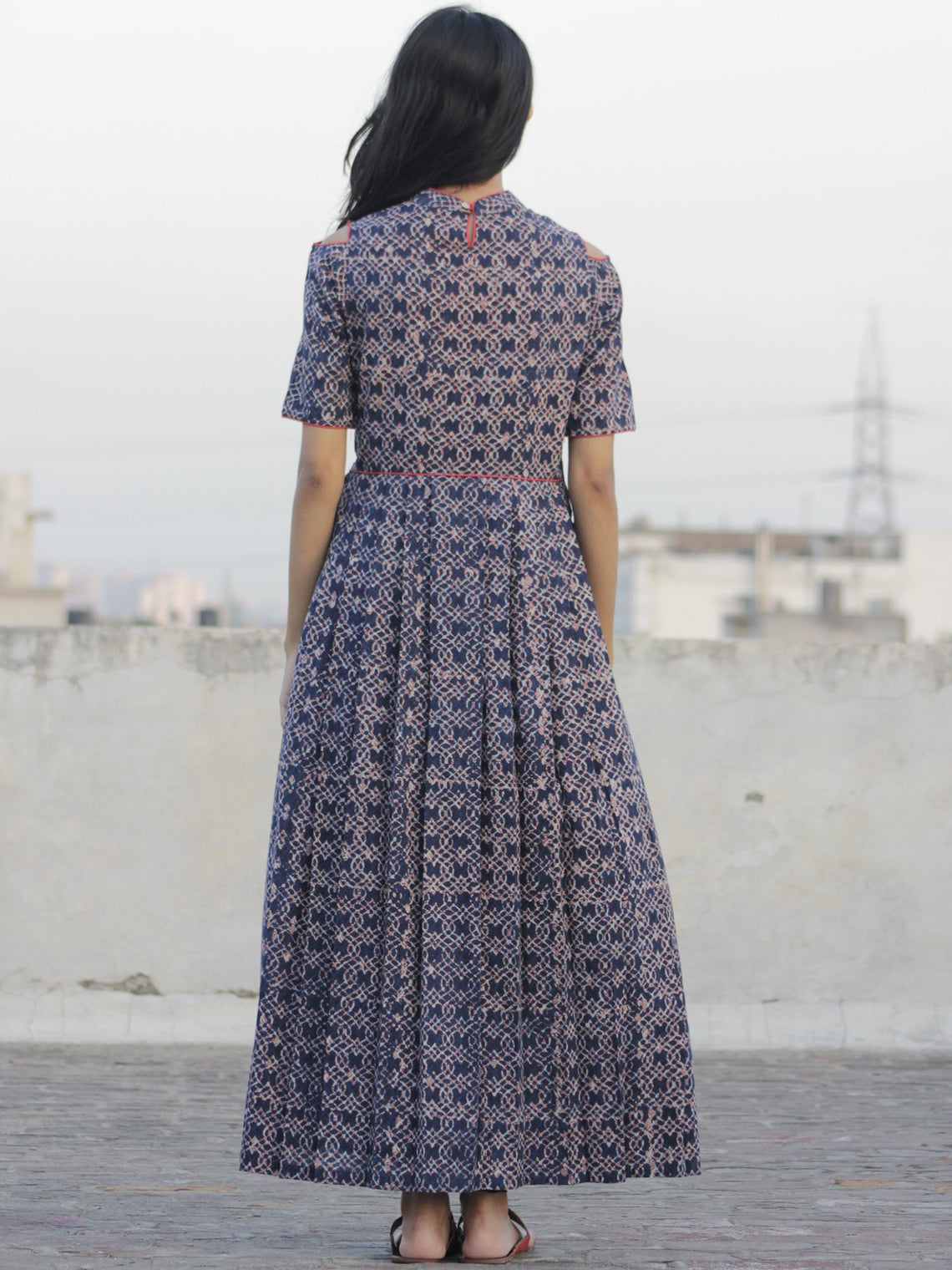 Indigo Ivory Rust Hand Block Cotton Dress With Cold Shoulder And Side Pockets -  D80F906