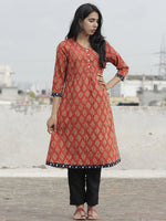 Rust Mustard Indigo Hand Block Printed Kurta With Pin Tucks  - K20F593