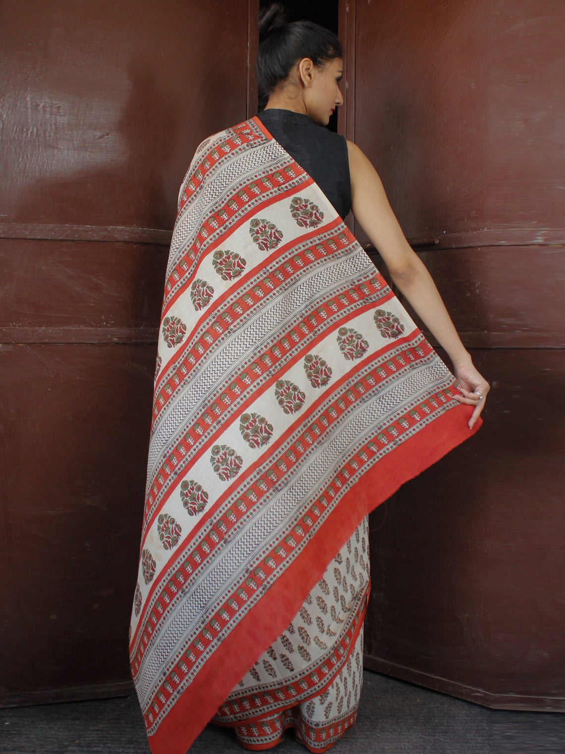 Beige Maroon Green Black Hand Block Printed in Natural Colors Cotton Mul Saree - S031703678