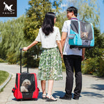 TAILUP Small Pet Wheel Carrier Backpack Breathable Roller Luggage