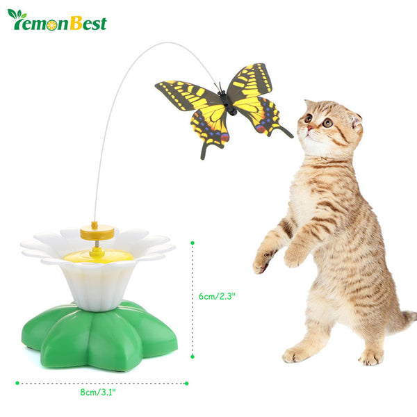 LemonBest Cat Toy Electric Rotating Colorful Butterfly