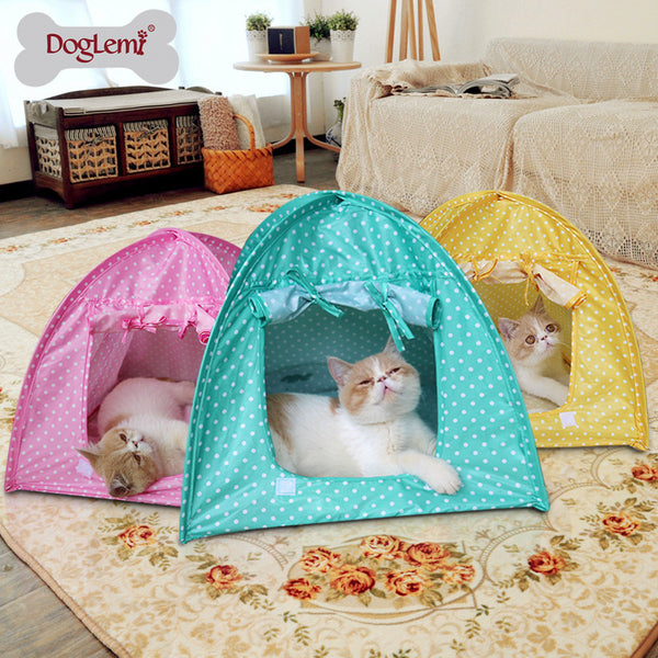 Cute Polka Dots Silk Tent Bed Pad Kennel Nest