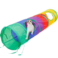 Multicolor Pet Cat Play Tunnel Foldable Cat Tunnel with Ball Kitten