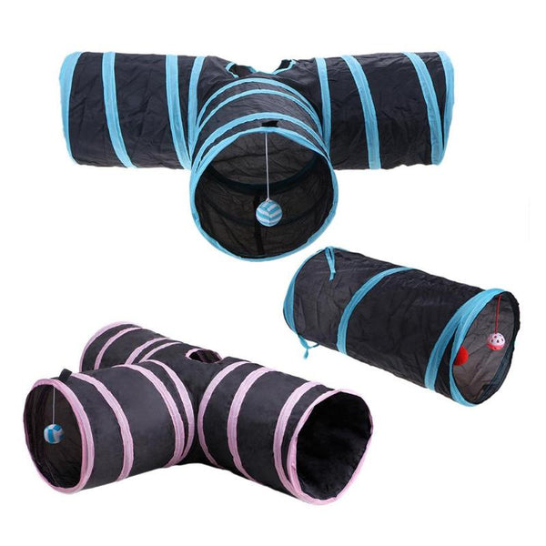 Foldable Pet Cat Tunnel Indoor Outdoor Tubes 2/3 Hole