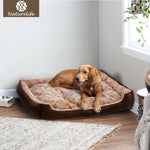 Warm Corduroy Padded Dog Bed Waterproof Washable
