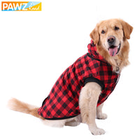 Plaid Dog Hoodies Classic Grid Design Thick Warm Jacket