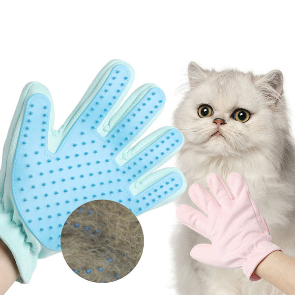 Soft Rubber Massage Glove Cat Dog Deshedding Mitt Grooming Tools