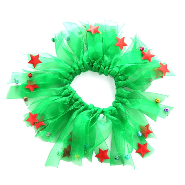 Small Fancy Elastic Pet Soft Collars for Party Holiday Dress Costume Size M (Green)