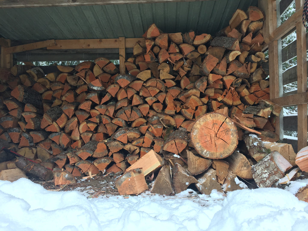 wood pile for woodburning stove in canadian mountains