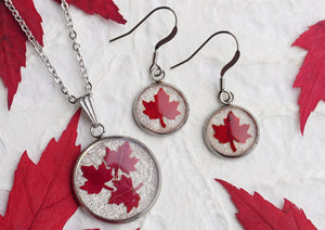 Real Pressed Red Maple Leaf Canadiana Jewellery Set by Pressed Wishes - Pendant Necklace and Earring Jewellery Set