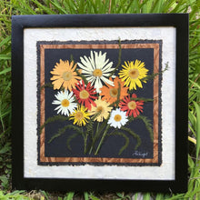 real pressed colourful shasta daisy picture with handmade papers and a solid wood frame by PRESSED WISHES