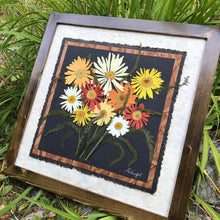 Real Pressed Shasta Daisy Picture with walnut handmade framed