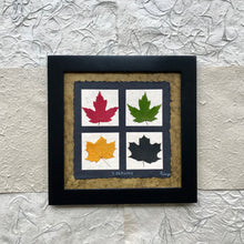Dried Maple Leaf Art. 4 seasons pressed maple leaf framed artwork with green handmade paper