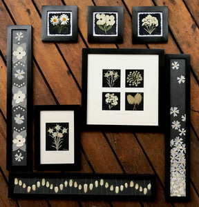 black and white collection by Pressed Wishes; Pressed floral artwork