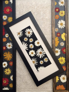 pressed daisy floral artwork; crazy daisy and floating daisy by pressed wishes