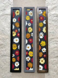 THE SKINNY Crazy Daisy set of 3 with black grey and walnut frame; color pop