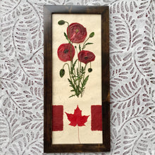 pressed red poppy framed artwork with canadian flag | Pressed flower art