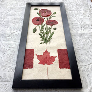 Canadian flag and flanders red poppy home decor | Pressed Flower Art