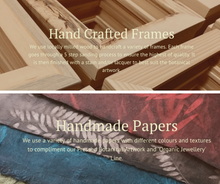 Locally milled wood and handcrafted papers are used to create botanical art by Pressed Wishes