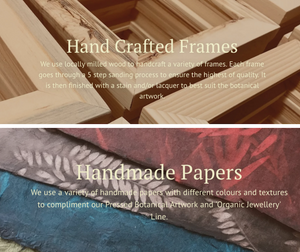PRESSED WISHES uses locally milled Canadian wood to create their solid wood frames and a variety of handmade papers to accent their artwork