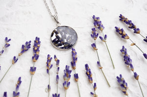 pressed lavender in resin pendant available for sale by Pressed Wishes
