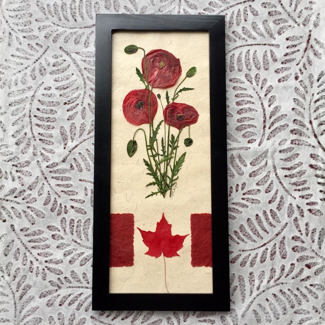 pressed red poppy framed artwork with canadian flag | Pressed Flower Home Decor