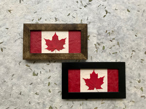pressed red sugar maple canadian flag available in black and walnut frame