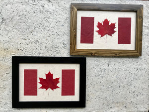 pressed maple leaf framed art in Canadian flag; made with handmade paper