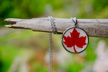 Red Maple Leaf Necklace on Silver Stainless Steel - Organic Jewelry, Nature's Wearable Art by Pressed Wishes