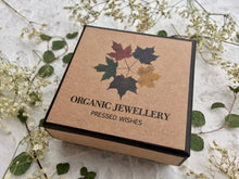 pressed flower organic jewelry comes in a PRESSED WISHES jewelry box