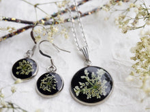 Real Pressed Queen Anne's Lace Necklace and Earring Set by Pressed Wishes