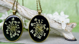 Real Pressed Queen Annes Lace Pendant Necklace with Resin and Real Flowers by Pressed Wishes, Canadian Handmade Organic Jewelry