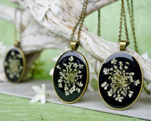Real Pressed Queen Annes Lace Pendants - Bronze Metal by Pressed Wishes