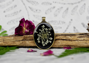 Resin Floral Jewelry by Pressed Wishes - Real Pressed White Queen Annes Lace Flower on Black background, Bronze Pendant - Perfect boho wedding necklace!