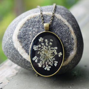 Large Queen Annes Lace Floret Jewelry Resin Pendant by Pressed Wishes, Proudly handmade in Canada
