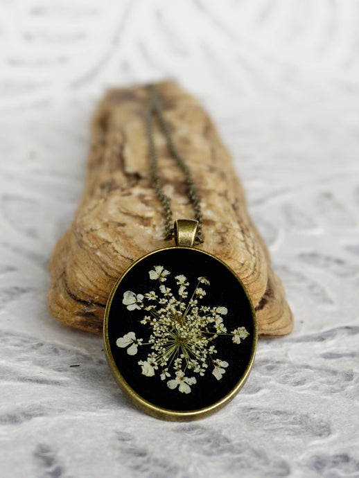Real Pressed Queen Annes Lace Pendant Necklace by Pressed Wishes