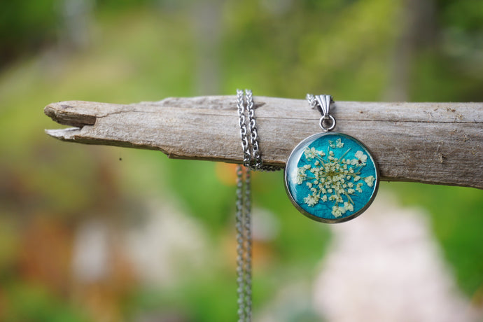 Real Pressed Queen Annes Lace Teal Pendant on Silver Stainless Steel by Pressed Wishes, Canadian Artists