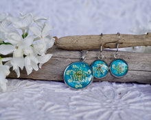 Real Pressed Queen Annes Lace Teal Jewelry Set by Pressed Wishes