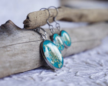 Real Pressed Queen Annes Lace Teal Necklace and Earring Set by Pressed Wishes