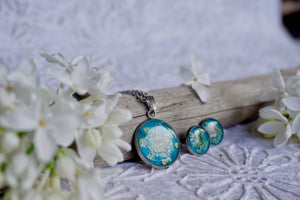 Real White Queen Annes Lace on Teal Jewellery Set - Necklace and Stud Earrings by Pressed Wishes