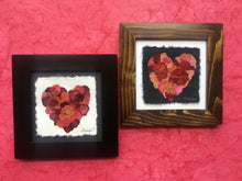 Dried/Pressed rose heart mosaic in black and brown solid wood frame